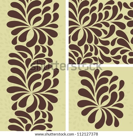 set of seamless pattern with brown drops - stock vector