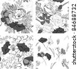 Set of seamless pattern with decorative flowers - stock vector