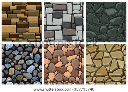 set of seamless pattern with decorative stones vector stone wall - Decorative Stones