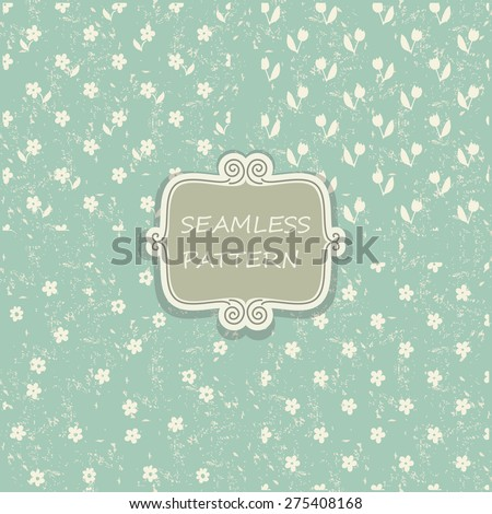 set of 4 seamless pattern with flowers on blue shabby background - stock vector
