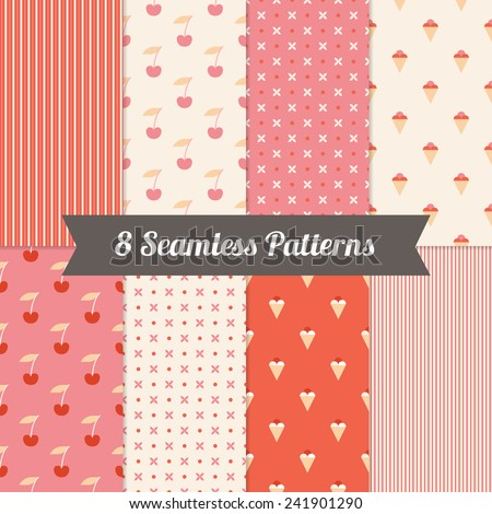 Set of Seamless Pattern with Ice Cream, Cherry, Cross and Stripes in Red, Pink and Beige. Perfect for wallpapers, pattern fills, web page backgrounds, textile, greeting cards  - stock vector