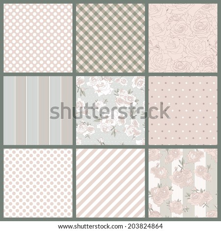 Set of seamless pattern with roses, stripes, polka dot. Floral romantic background in pastel colors . Vector illustration - stock vector