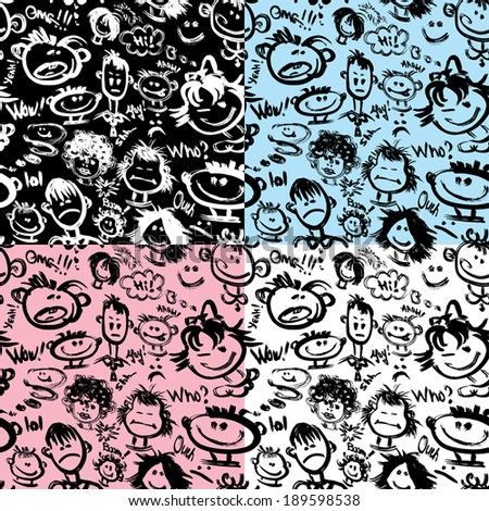 Set of seamless patterns. Cartoon faces with different emotions. Handdrawn images and handwritten text. Ready to use as swatch.