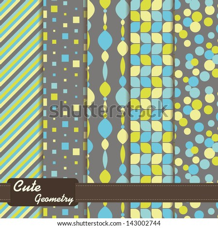 set of seamless patterns cute geometry - stock vector