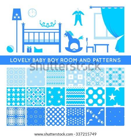 Set Of Seamless Patterns For Baby Boy Room Interior Blue Endless Textures Wallpaper Design