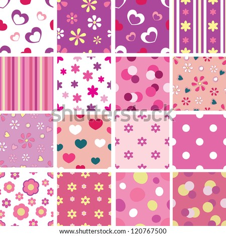 set of seamless patterns for kid girls - stock vector