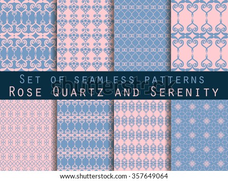 Set of seamless patterns. Geometric seamless pattern. Rose quartz and serenity violet colors. - stock vector