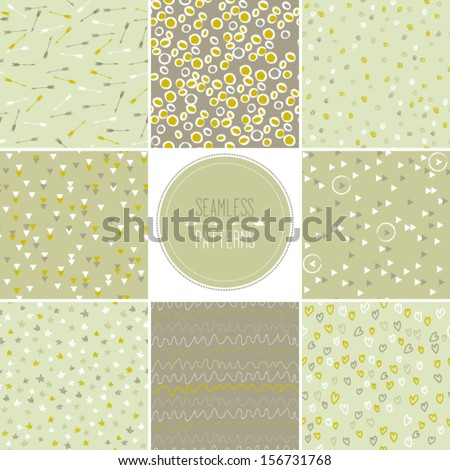 Set of seamless patterns in green-beige tones with doodled dots, arrows, hearts,stripes,circles,stars, triangles and other geometric symbols, vector repeating texture - stock vector