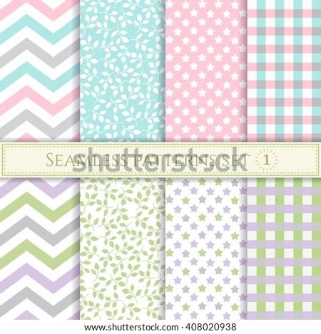 Set of seamless patterns in pastel colors for textile, fabric, wrapping paper or scrap booking. - stock vector