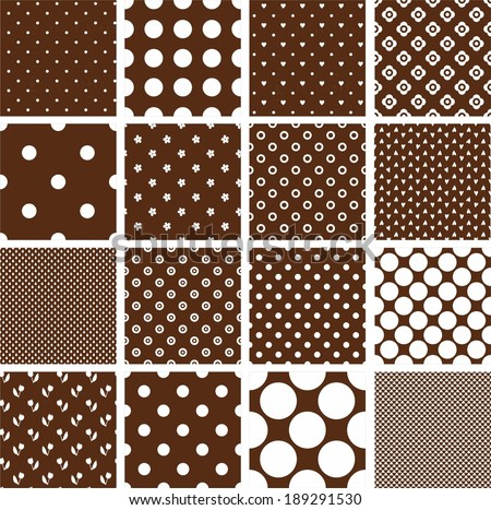 set of 16 seamless patterns in retro brown, polka dot in different scales