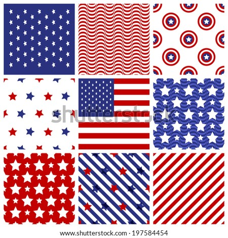 Set of seamless patterns in traditional american colors. 4th July Independence day. Vector illustration - stock vector