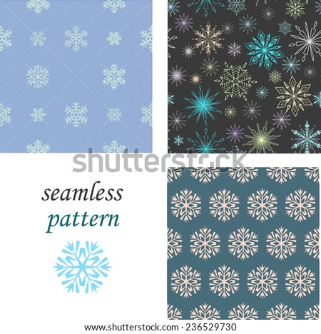 Set of seamless patterns of crystal snowflakes on a pastel grey background