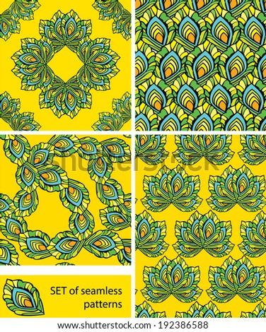 Set of Seamless patterns - ornaments are made of peacock feathers in yellow background. Ready to use as swatch. - stock vector