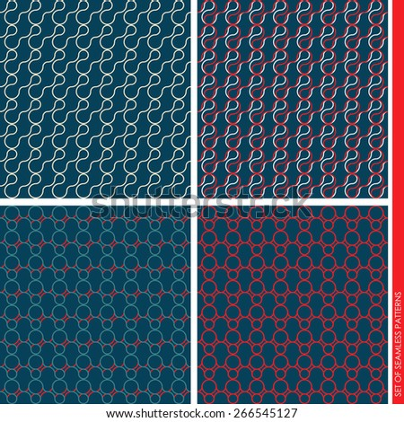 Set of seamless patterns. Simple patterns with waves and circles. sleek design