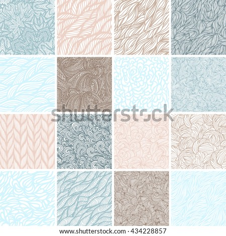 Set of 16 seamless patterns, waves background, vector illustration