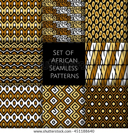 Set of seamless patterns with african ethnic and tribal ornament. Vector boho ornaments collection. - stock vector