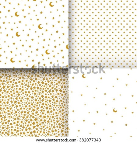 Set of seamless patterns with cartoon stars and moon. Can be used for wallpaper, pattern fills, greeting cards, webpage backgrounds, wrapping paper or fabric. Vector illustration. EPS 10. - stock vector