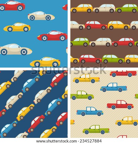 Set of seamless patterns with colorful cars - stock vector