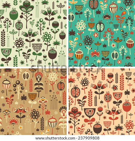 Set of seamless patterns with colorful flowers and foliage.