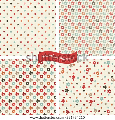 set of seamless patterns with colorful flowers on texture background  - stock vector