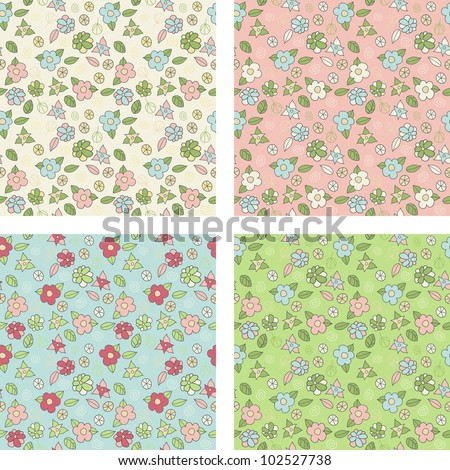 Set of seamless patterns with cute small flowers - stock vector