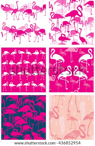 Set of Seamless patterns with flamingoes - stock vector