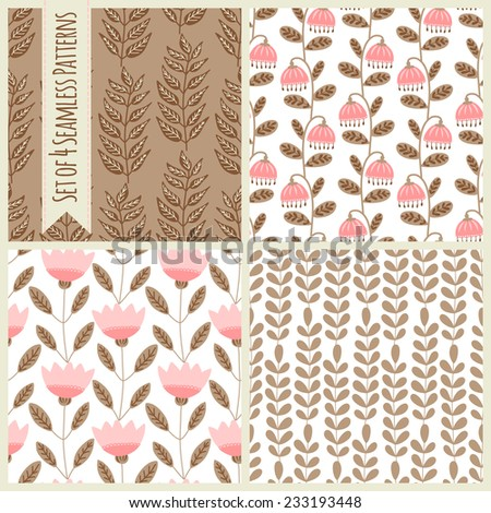 Set of 4 seamless patterns with flowers and floral elements. - stock vector