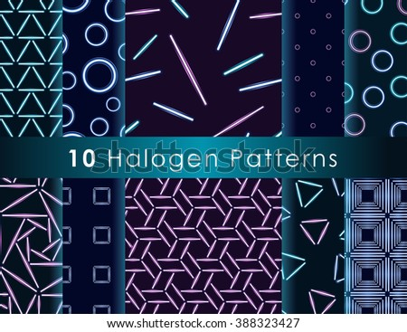 Set of seamless patterns with halogen or LED light lamps.
