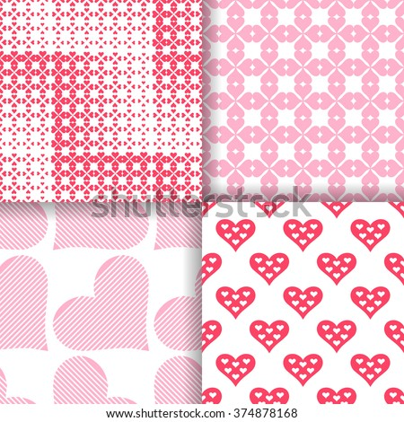 Set of seamless patterns with hearts. Classical stylish texture with regularly repeating geometrical shapes, hearts. Vector element of graphic design