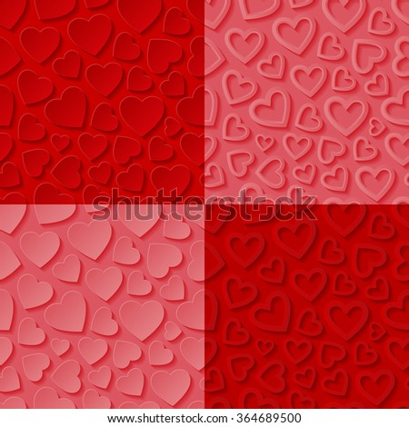 Set of seamless patterns with hearts. Vector illustration. - stock vector