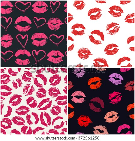 Set of 4 seamless patterns with lipstick kisses. Colorful imprints of real lipstick textures. Can be used for design of fabric print, wrapping paper or romantic greeting card - stock vector