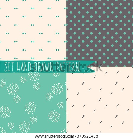Set of seamless patterns with ornaments hand-drawn pastel colors. Endless texture can be used for web design, printing onto fabric and paper or scrapbooking. Abstract geometric shapes. Vector - stock vector