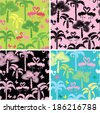 Set of seamless patterns with palm trees, butterflies and flamingos. Ready to use as swatch. - stock