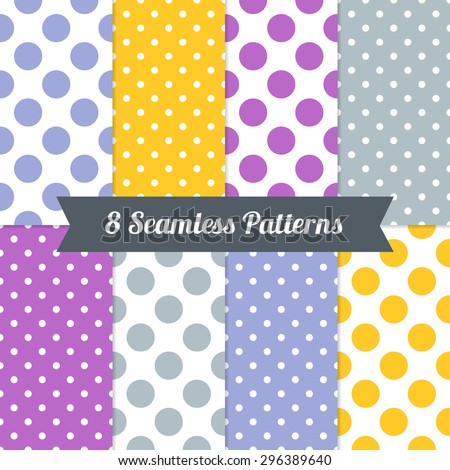 Set of Seamless Patterns with Polka Dot and Jumbo Polka Dot in Purple, Indigo, Amber, Blue Grey and White. Perfect for wallpapers, pattern fills, background, textile, birthday and wedding cards - stock vector