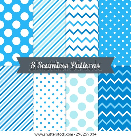 Set of Seamless Patterns with Polka Dot, Chevron and Diagonal Lines in Blue, Light Blue, Cyan and White. Perfect for wallpaper, pattern fill, background, textile, Christmas, birthday and wedding cards - stock vector