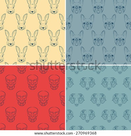 Set of seamless patterns with rabbit, French bulldog, sheep and skull. - stock vector