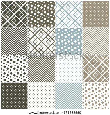 set of 16 seamless patterns with squares, polka dots and chevron, vector illustration