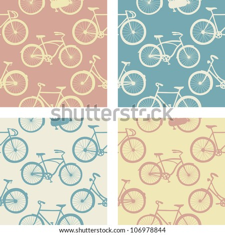 Set of seamless patterns with vintage bicycles - stock vector