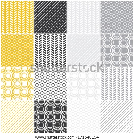 set of 16 seamless patterns with waves, circles and lines, vector illustration - stock vector