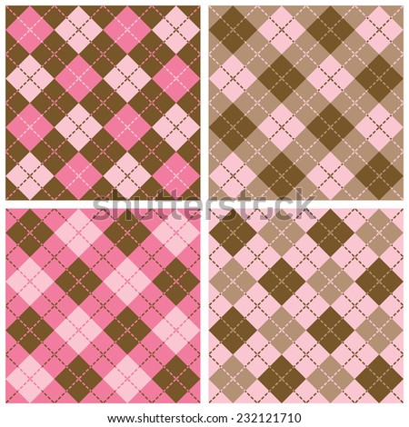 Set of seamless Plaid-Argyle Patterns with dashed lines.in pink and brown - stock vector