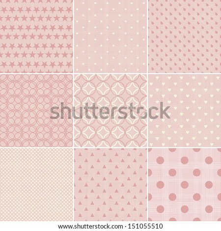 set of 9 seamless polka dot patterns in pastel girly colors - stock vector
