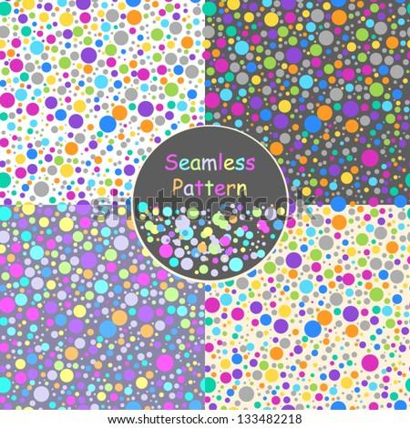 Set of seamless polka dot vector background - stock vector