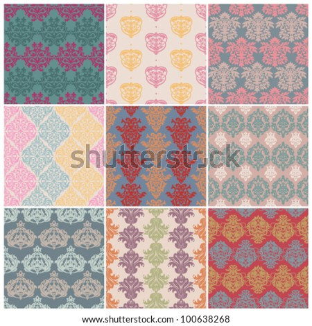 set of seamless retro patterns - stock vector