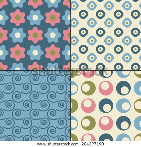 Set of seamless retro vector patterns. Great for printing on fabric and gift wrapping paper or scrapbook.  - stock vector