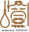 Set of seamless Rope elements - easy editable colors without gradients gallows, ladder, cable, lasso, knots, loop, spiral etc.. - stock vector