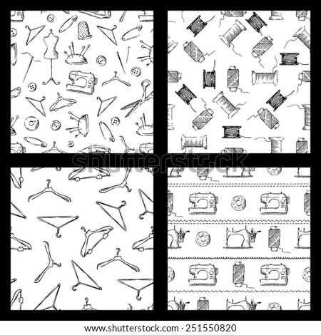 Set of seamless sewing patters. Sketch pencil black and white illustration.  - stock vector