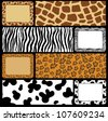 Set of seamless skins background and frame. - stock vector