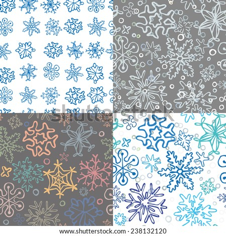 set of 4 seamless snowflake pattern of drawn by hand snowflakes and  for merry christmas cards and backgrouns, vector eps 8 - stock vector