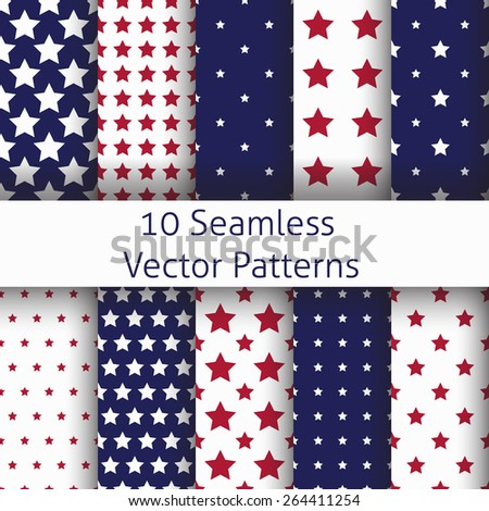 Set of seamless star patterns in vector, web template, invitation, greeting card, wedding, birthday, scrapbooking  - stock vector
