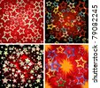 Set of 4 seamless stars patterns.  Vector illustration. - stock vector